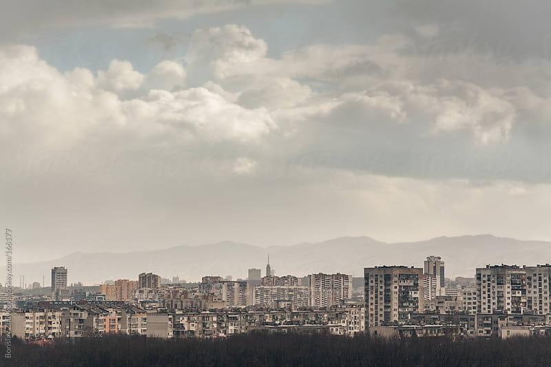Gloomy urban landscape of Sofia - the capital of Bulgaria. by Borislav Zhuykov for Stocksy United