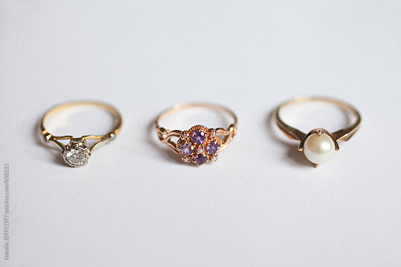 vintage antique gold ladies wedding and engagement rings by Natalie JEFFCOTT for Stocksy United