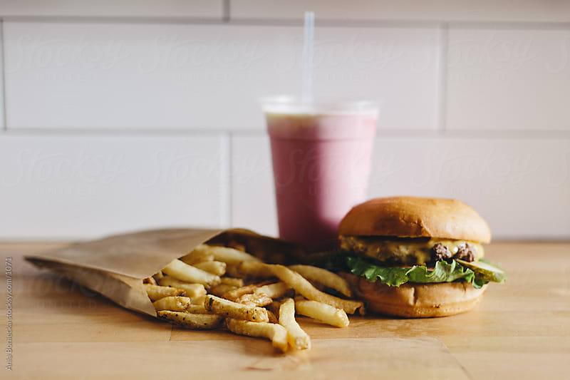 Burgers, Fries,  Milkshake by Ania Boniecka for Stocksy United