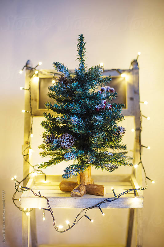 Decorated Christmas tree on a wooden chair by Jovana Rikalo for Stocksy United