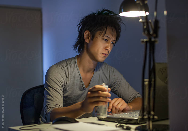 Japanese Student Studying Late at Night by Mosuno for Stocksy United