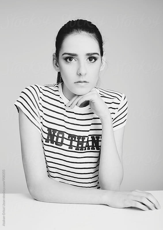 model in stripes  by Atakan-Erkut Uzun for Stocksy United