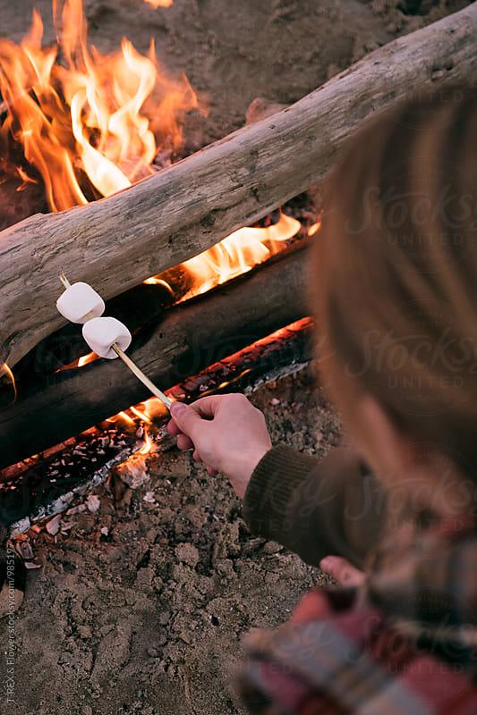 Overhead of girl roasting marshmallow by Danil Nevsky for Stocksy United