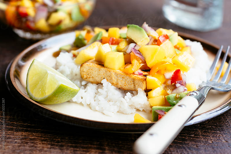 Grilled Tequila Lime Tofu with Mango Salsa by Harald Walker for Stocksy United