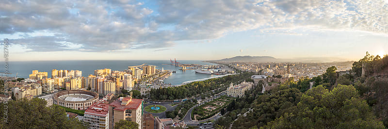 Panoramic of Malaga city from the air by ACALU Studio for Stocksy United