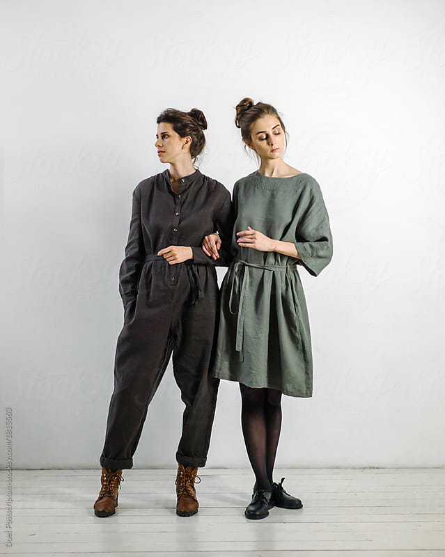 Two Young Women In Dresses By Duet Postscriptum Dress Model