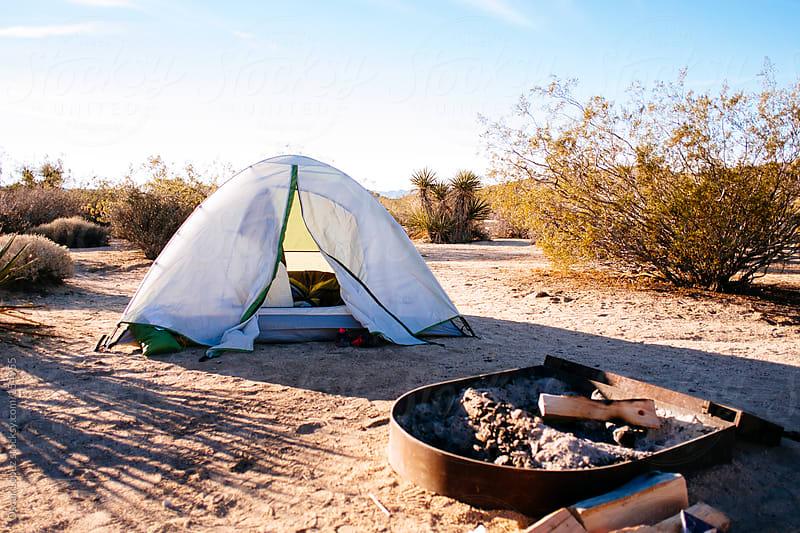 Tent in desert by Oscar Lopez for Stocksy United