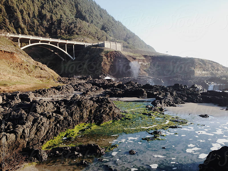 Coastal Bridge and Blowhole by Kevin Gilgan for Stocksy United