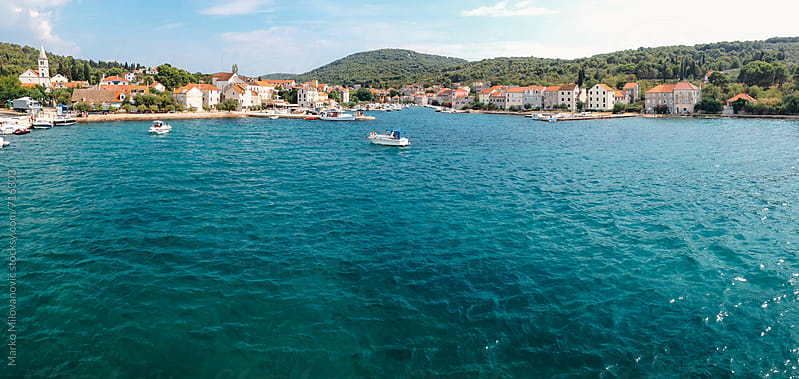 Panorama of small town in Croatia islands by Marko Milovanović for Stocksy United