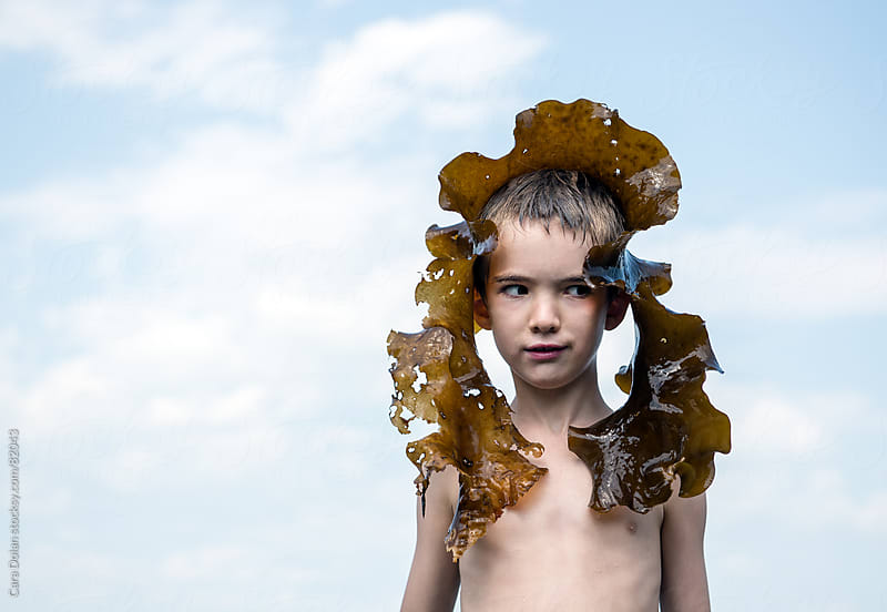 Boy on beach wears a large piece of kelp seaweed on his head by Cara Dolan for Stocksy United