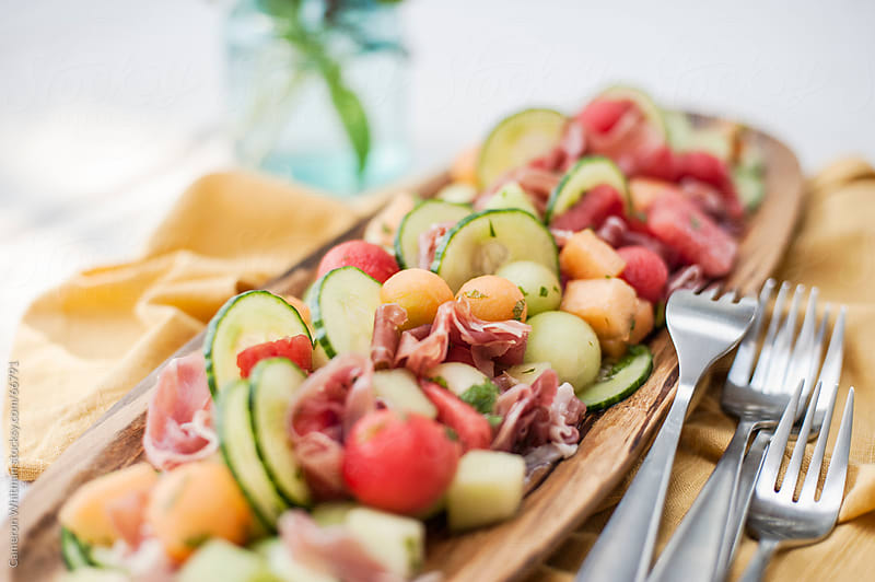 Prosciutto and Melon salad by Cameron Whitman for Stocksy United