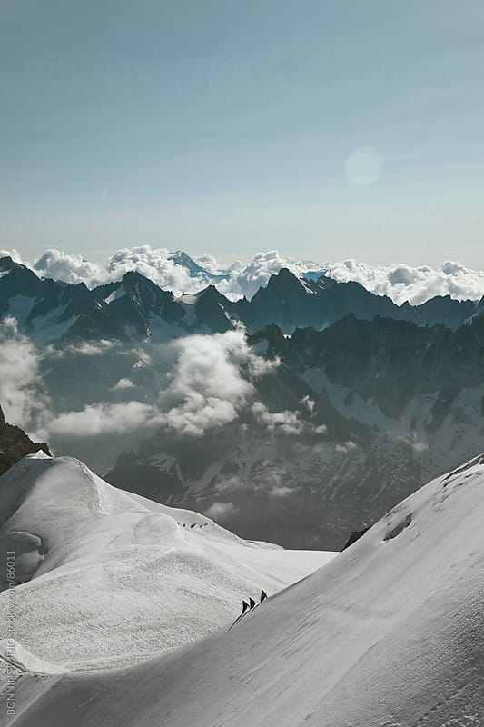 View of summits at Montblanc massif. The Alps, France. by BONNINSTUDIO for Stocksy United