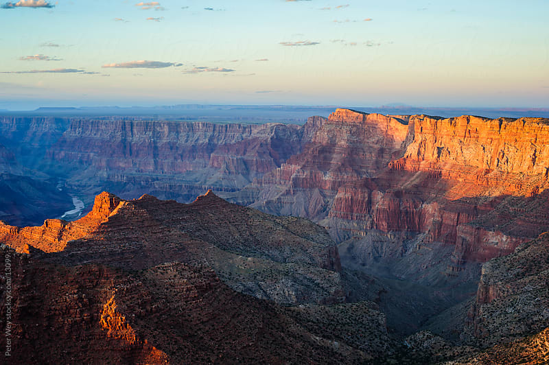 Grand Canyon National Park: Sunset panorama at South Rim by Peter Wey for Stocksy United