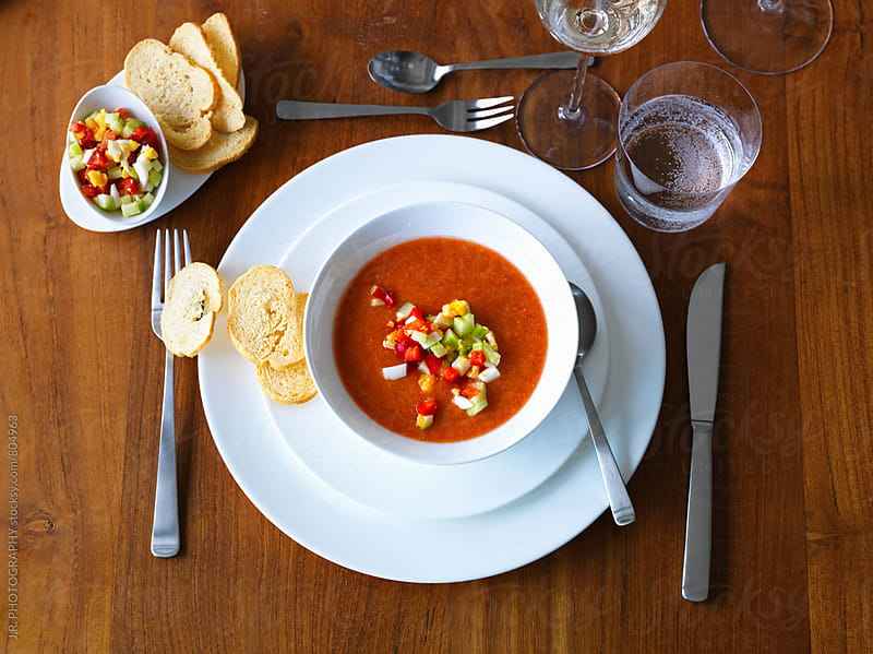 Gazpacho, tomato soup in a bowl  by J.R. PHOTOGRAPHY for Stocksy United
