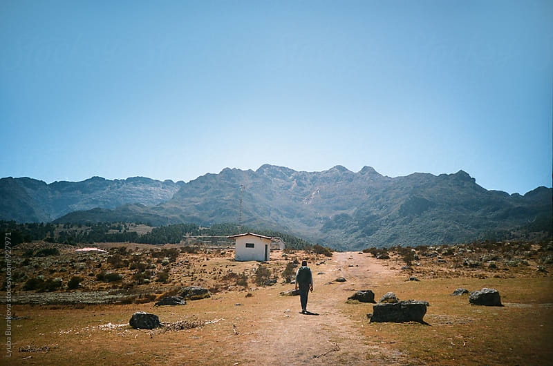 Man on his trip to the mountains by Liubov Burakova for Stocksy United