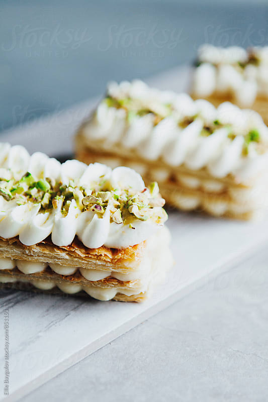 Vanilla millefeuille by Ellie Baygulov for Stocksy United