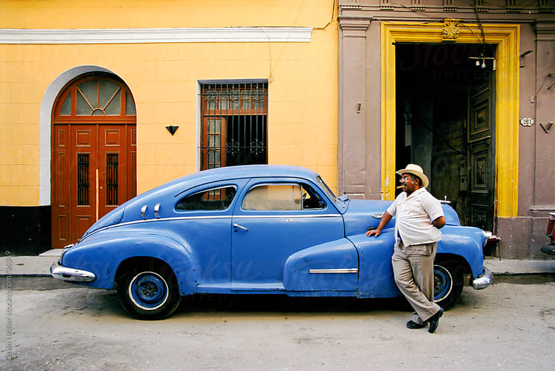 Old blue American car, Havana Centro, Havana, Cuba, West Indies, Central America by Gavin Hellier for Stocksy United