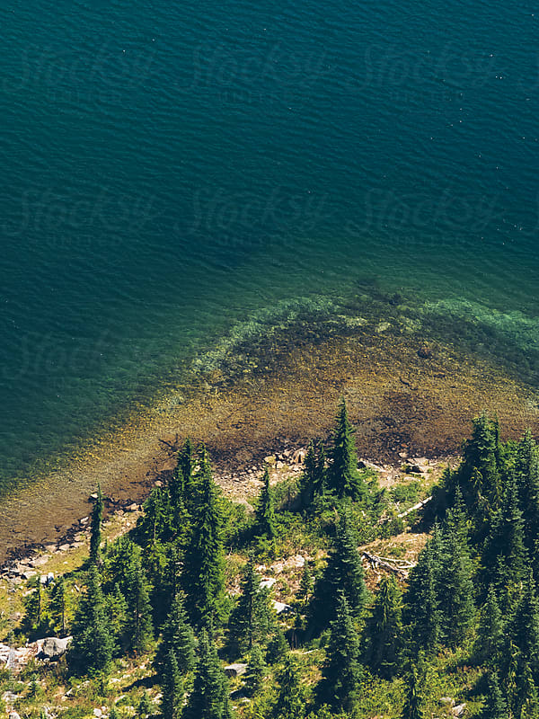 aerial scenic view of Reflection Lake, MT. Rainier by yuanyuan xie for Stocksy United