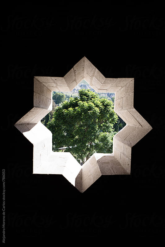 Star shaped window and tree in the outside by Alejandro Moreno de Carlos for Stocksy United