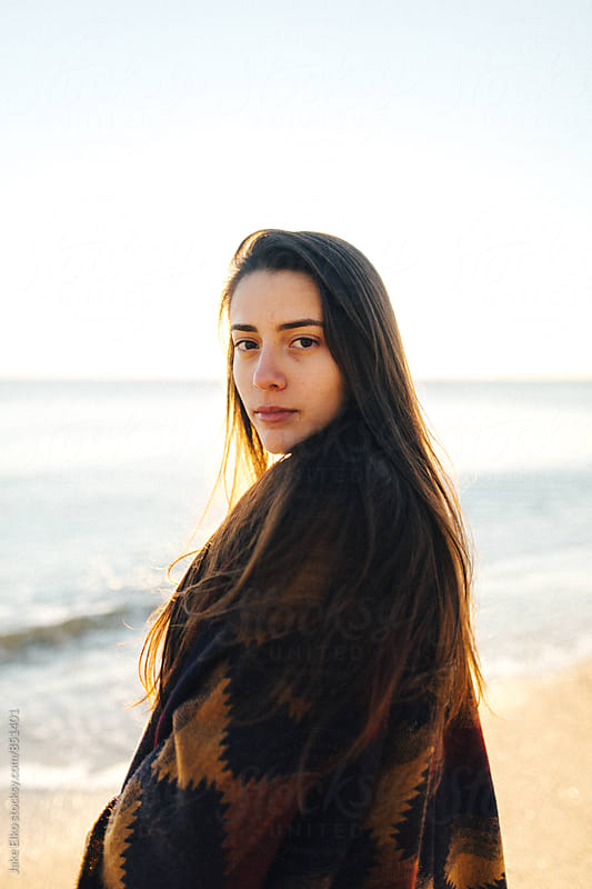 Beautiful Girl On a Beach in NJ During Sunrise by Jake Elko for Stocksy United