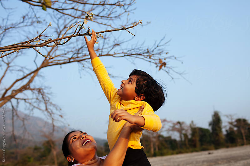 Child reaching up to tree branches from her mother's lap by Saptak Ganguly for Stocksy United
