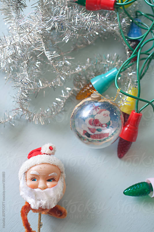 Collection of vintage Christmas ornaments ready to hang on tree by Natalie JEFFCOTT for Stocksy United