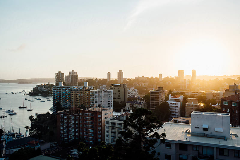 Panoramic view on Australian city at sunrise by Trent Lanz for Stocksy United