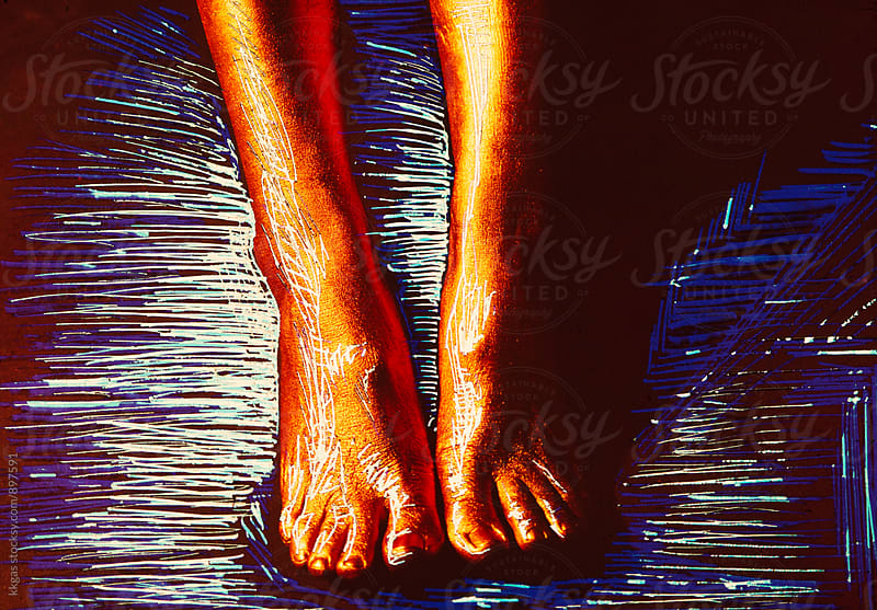 Golden scratched feet by kkgas for Stocksy United