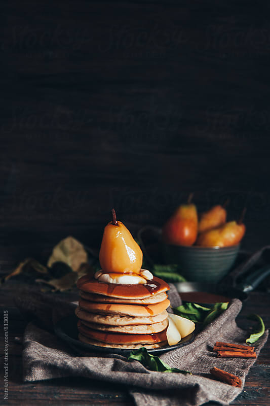 Pancakes with poached pear by Nataša Mandić for Stocksy United