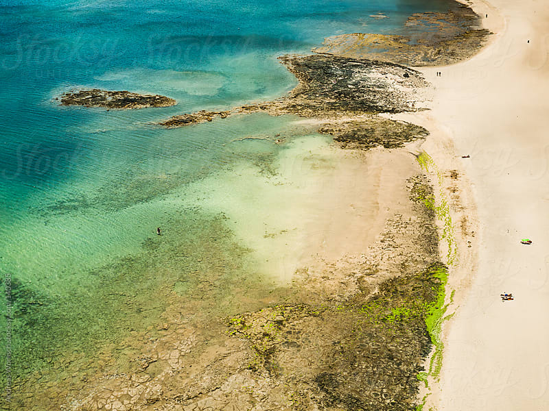 Lonely Dream Beach Aerial View by Andreas Wonisch for Stocksy United