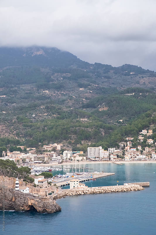 Aerial view of Port de Soller, Mallorca by Marilar Irastorza for Stocksy United