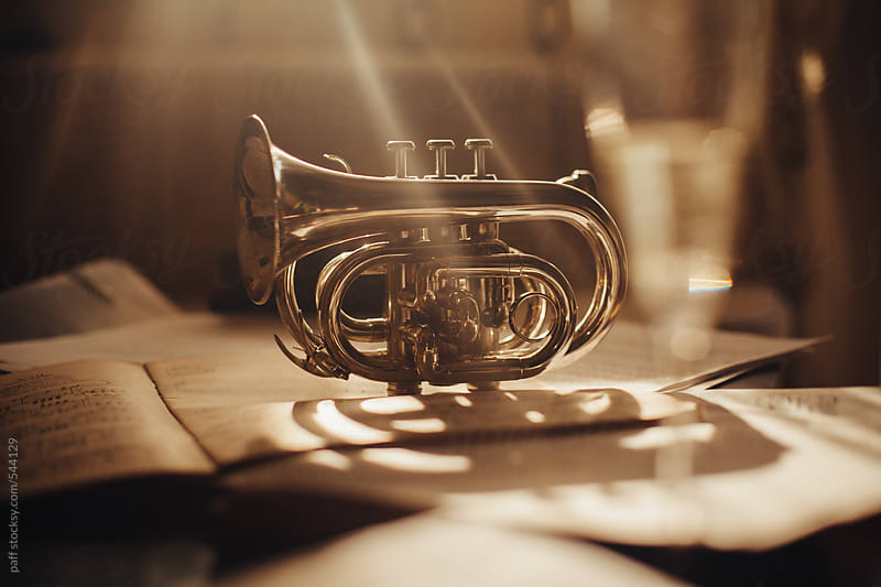 Gorgeous shiny cornet over a pile of note sheets and a glass of champagne by paff for Stocksy United