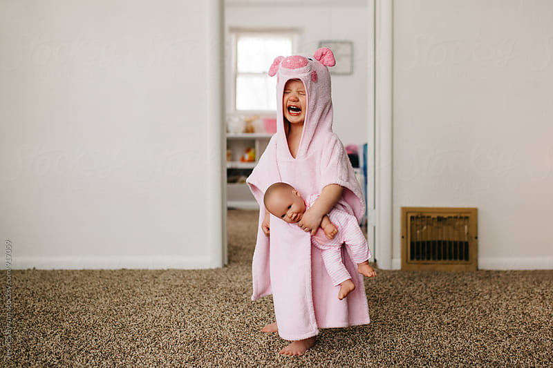 Toddler mad in pig hooded towel