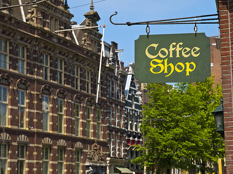 Coffee Shop Sign in Amsterdam by VICTOR TORRES for Stocksy United