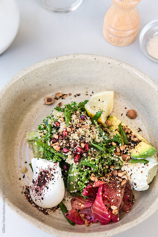 breakfast salad with kale, asparagus,avocado, beetroot cured sal by Gillian Vann for Stocksy United