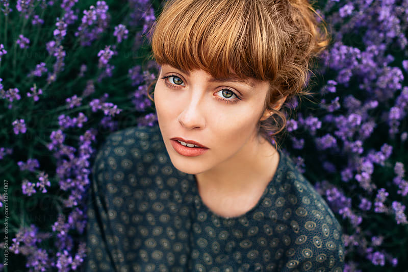 Woman in Lavender Field  by Marija Savic for Stocksy United