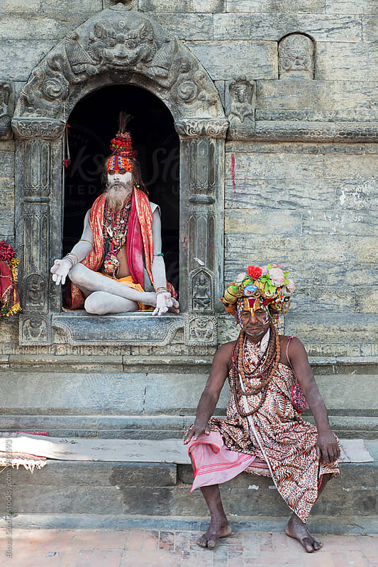 Portrait of two Holy Men in Kathmandu by Bisual Studio for Stocksy United