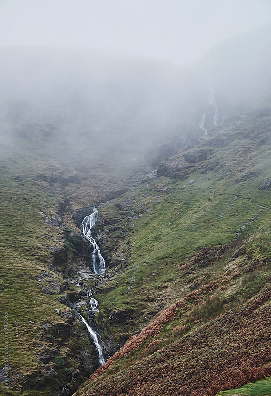 Moss Force waterfall in cloud. Newlands Hause, Cumbria, UK. by Liam Grant for Stocksy United