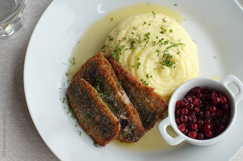 Fried Fresh Herring with Mashed Potatoes: Swedish Traditional Food by Per Swantesson for Stocksy United