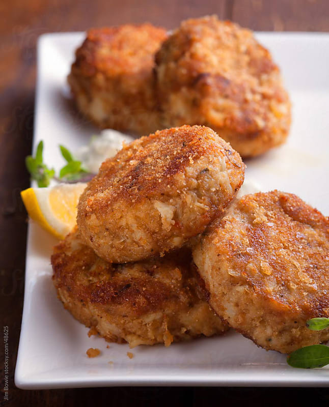 Crab cakes by JIm Bowie for Stocksy United