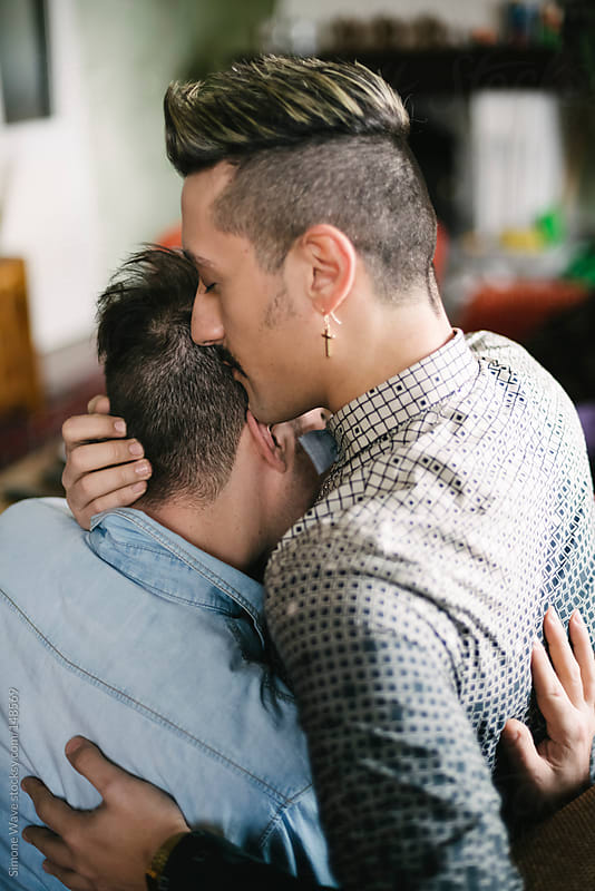 Young gay couple together at home by GIC for Stocksy United