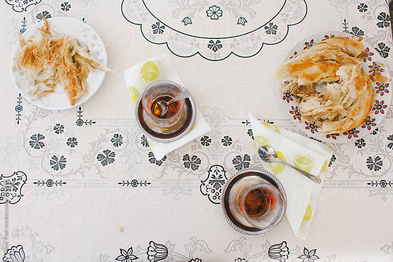 Turkish Bread and Tea by Caleb Thal for Stocksy United