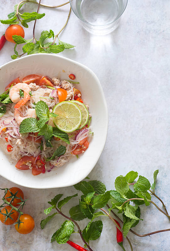 Glassnoodle salad, from above with copy space by Alita Ong for Stocksy United