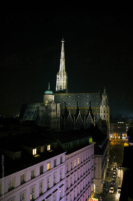 St. Stephen's Cathedral at night by Jovana Rikalo for Stocksy United