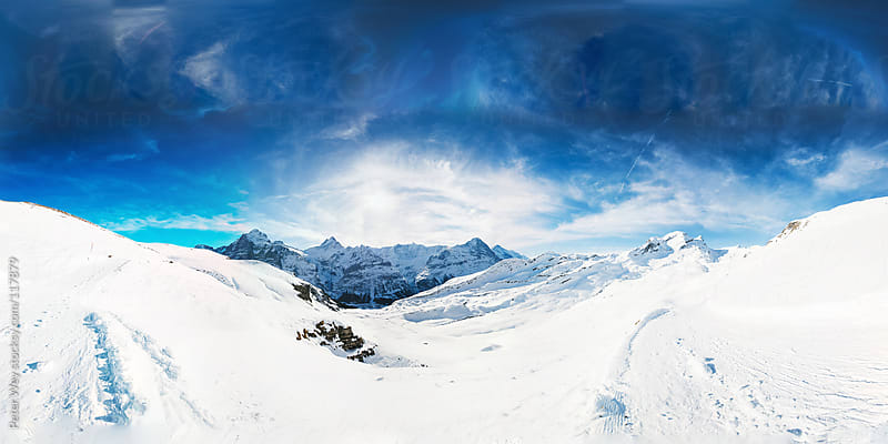 Panorama above Grindelwald in Winter by Peter Wey for Stocksy United