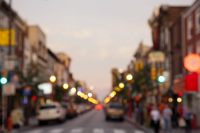 Blurred City Street at Twilight in Philadelphia by Holly Clark for Stocksy United