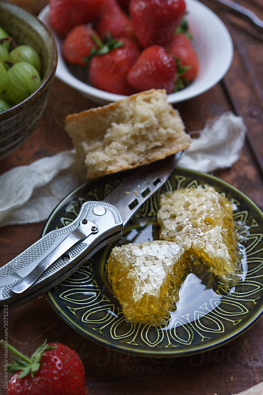 Honey,fruit and bread lunch. by Darren Muir for Stocksy United