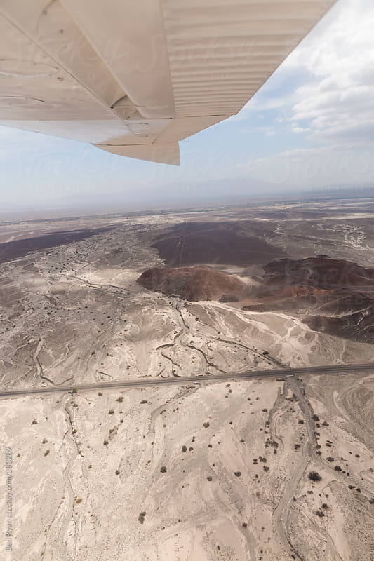 Dry river beds and Panamericana in Nazca Peru seen from air plane by Ben Ryan for Stocksy United