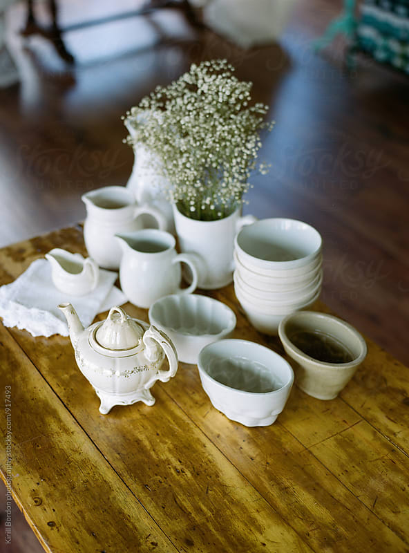 cups and a teapot by Kirill Bordon photography for Stocksy United