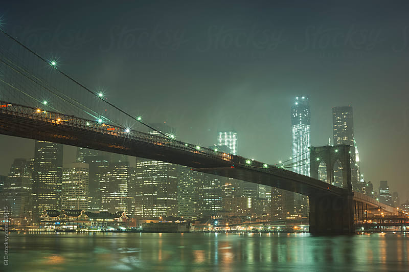 New York City skyline by night by WAVE for Stocksy United